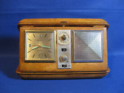 Vintage Retro 1950s Travel Radio Alarm Clock In Leather Case.  West Germany.