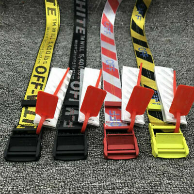 Off White Tie Down Yellow Nylon Cotton Big IRON Head Industrial Belt 200CM