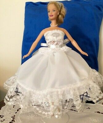 Barbie Doll Fancy Clothes - 2 Pc White & Silver Lace Dress - Shiny Silver Sash