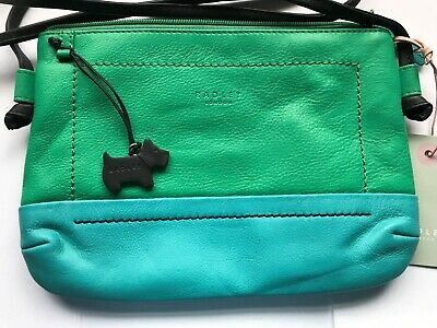 Radley 'Finsbury Park' Jade & Turquoise Leather Cross Body Bag. New with Tags