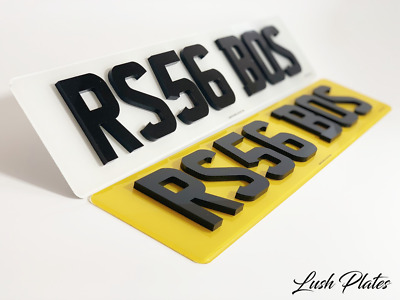 Pair Of Road Legal Front & Rear 4D 3D Double 6MM Thick Laser Cut Number Plates