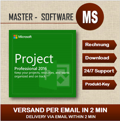➞MS Project 2016 Professional ➞Produkt Key per Email ➞ Project 2016 ➞32&64 Bits