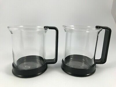 BODUM BISTRO Set of 2 GLASS COFFEE / TEA CUPS / MUGS BLACK HOLDERS - SWITZERLAND