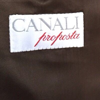 Canali Proposta Double Breasted Suit Jacket Mens Size 38R ~ Brown 100% Pure Wool