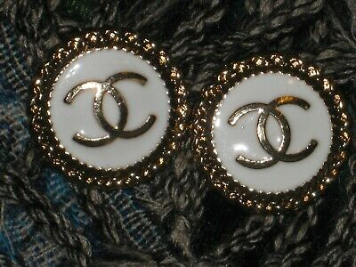 CHANEL BUTTONS lot of 2 white 18 mm , 3/4 inch metal with GOLD cc logo