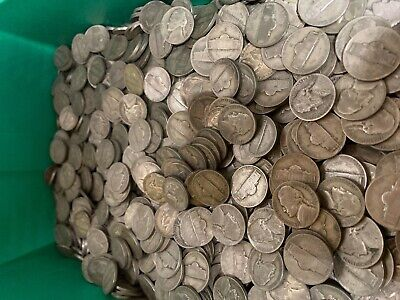(40) Roll 1942-1945 Wartime 35% WWII Jefferson War Silver Nickel $2 Face Bulk