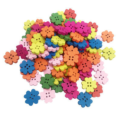100Pc Plum Blossom Wooden Sewing Buttons for Children Crafts 20mm Multicolor