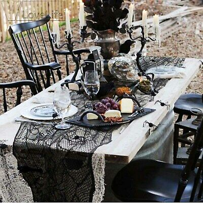 1Pc Lace Halloween Party Black Web Spider Applique Table Runner Mantel 210x50 cm