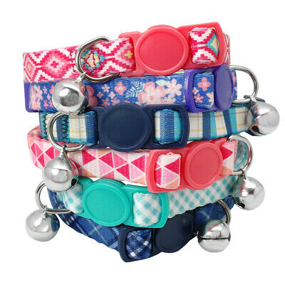 Pet Kitten Cat Breakaway Collar Safety Buckle Quick Release With Bell for Puppy