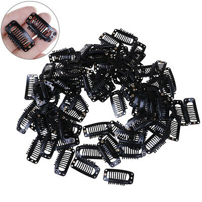 10Pcs Toupee Wig Clips Snap Clips W/ Rubber Back Hair Extension Black 9 TeethSC