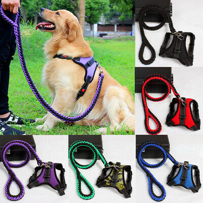 No Pull Dog Pet Vest Harness Leash Adjustable Nylon Small Medium Large S-L Dogs
