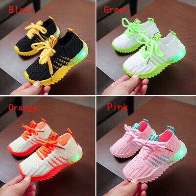 Children Boys Girls LED Light Up Sneakers Baby Luminous Casual Trainers Shoes