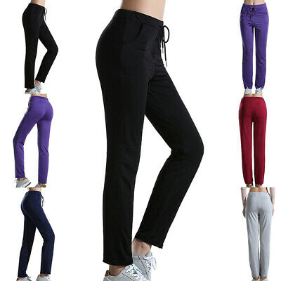Womens Sports Loose Fit Pants With Pockets Yoga Gym Joggers Bottoms Running
