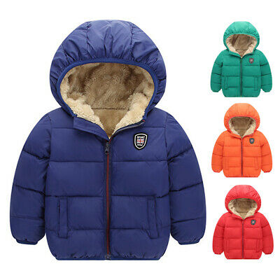 Kids Baby Girls Boys Winter Hooded Coat Jacket Thick Warm Zipper Outwear Clothes