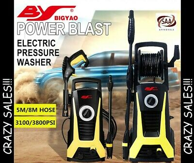 BY 3100/3800 PSI 5M/8M Hose High Pressure Washer Cleaner Electric Gurney Pump