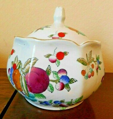"Vintage Decorative Floral and Fruits Ceramic Ginger Jar With Top 7.5"" across"