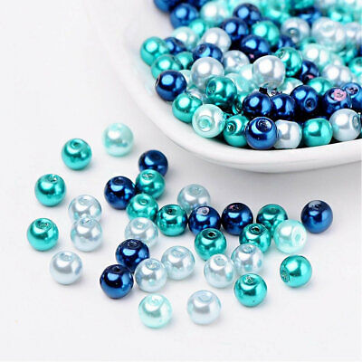 Assorted Colors BD448 BULK 200 Crackle Glass Beads 6mm