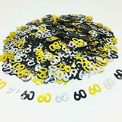 Black Gold & Silver 60th Birthday Party Table Confetti Decorations Age Sprinkles