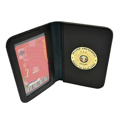 2nd Amendment Medallion Concealed Weapons Carry Permit Leather Wallet Case CCP