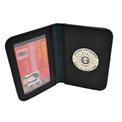 2nd Amendment Silver Medallion Concealed Weapons Carry Permit Leather ID Case