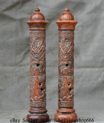 """11.6"""" Old China Huanghuali Wood Carved Dragon joss stick box Incense Holder Pair"""