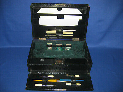 Vintage 1920s Travel Ladies Leather Work Box / Sewing / Writing Stationery Box