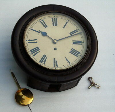 Large 14 Inch Antique Chain Fusee English Winding Pendulum Wall Clock