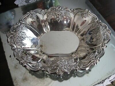 Simply Gorgeous Antique Silver Plate Repoussee Bowl