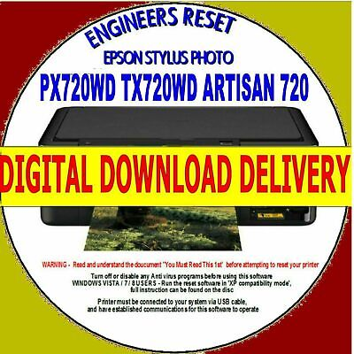 Epson Tx720Wd Artisan 720 Waste Ink Counter Reset Fix Digital Download Delivery
