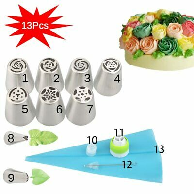 13PCS/Set Russian Tulip Icing Piping Nozzles Pastry Bag Cake Decorating Tips 3D