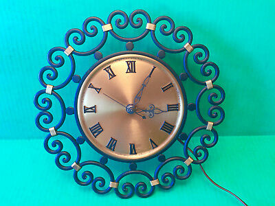 VTG Danish Black Wrought Iron Brass Electric Wall Clock Scroll Art Rustic Finish