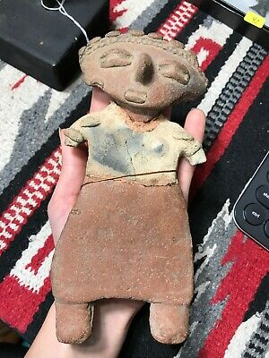 "MLC S3557 7 1/4"" Pre-Columbian Clay Pottery Idol W/Stand Broken + Glued Americas"