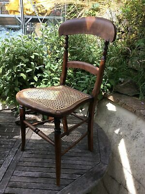 Antique Bedroom Occasional Chair With Bergere Wicker Seat Rattan Cane VGC
