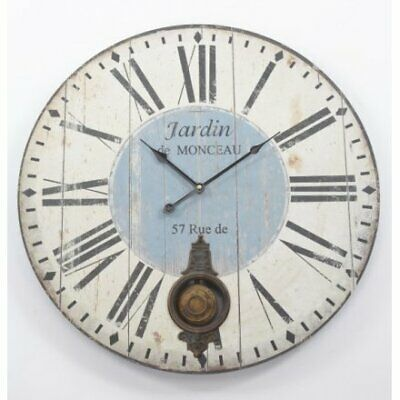 Large Distressed Antique Shabby Chic French Style Jardin Pendulum Wall Clock