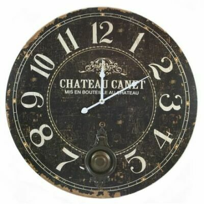 Large Rustic Antique Shabby Chic French Style Chateau Black Pendulum Wall Clock