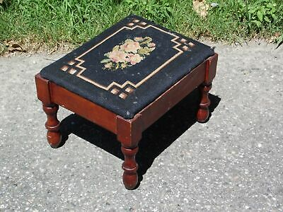 Vintage Black Floral Needlepoint Solid Wood Footstool Ottoman Stool