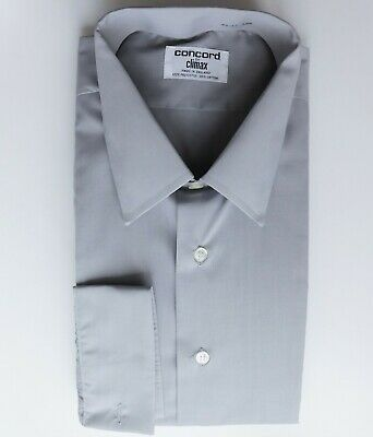 Climax Concord mens grey shirt long sleeved vintage 1970s collar size 17 UNUSED