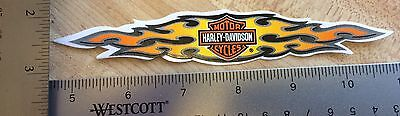 Harley-Davidson Flames OUTSIDE Glass Decal.Vintage Harley Sticker.1 X 6. NOS