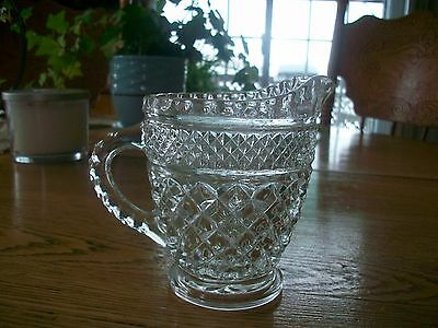 Vintage Anchor Hocking Depression Glass Crystal Syrup-Cream Wexford Pitcher