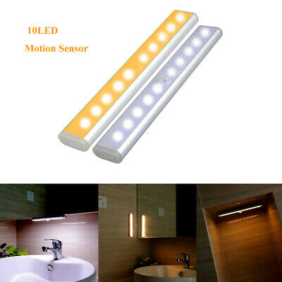 10LED Motion Activated Cordless Sensor LED Light Indoor Closet Drawer Wall Lamp