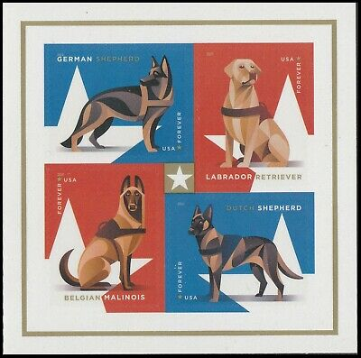 US 5408a Military Working Dogs forever block set 4 stamps with selvage MNH 2019