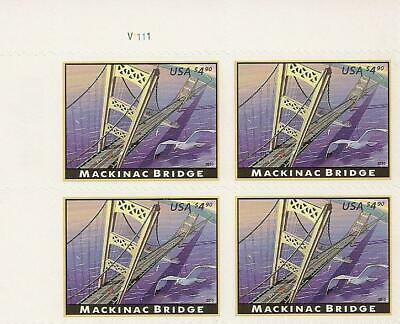 US 4438 Priority Mail Mackinac Bridge $4.90 plate block UL MNH 2010