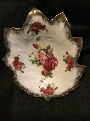 Vintage Old Gold Japan Hand Painted Flowers on White Leaf Candy Dish w/Gold Trim