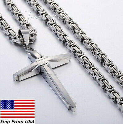 Mens Stainless Steel Cross Pendant Necklace Byzantine Box Chain  Tone 5mm 18inch