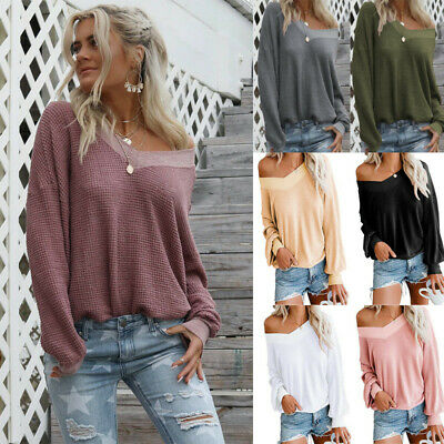 UK Womens Off the Shoulder Blouse Top Ladies Long Sleeve V-Neck TShirt Jumer
