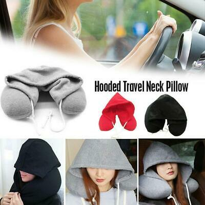 New Adults Hooded Travel Neck Pillow Car Flight Cushion Support Soft Comfortable