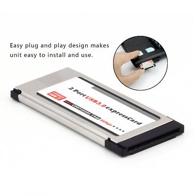 USB 3.0 Dual 2 Port Adapter Express Card Expresscard to 34mm 64mm Slot Laptop XQ