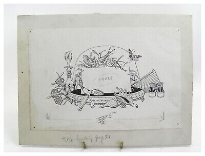 Antique early 20th century pen & ink book page illustration table centre piece