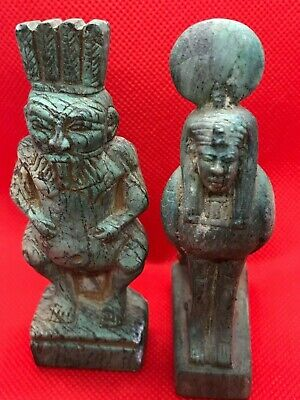 Rare Ancient Egyptian Antiques 2 Statue Of God Bes And Ba Stone Bc