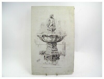 Antique 19th century pen ink drawing architectural fountain study by W Robinson